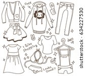 set of cute outfit doodle.... | Shutterstock .eps vector #634227530