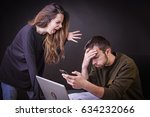 husband and wife fighting over... | Shutterstock . vector #634232066