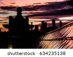 sunset at rood of bridge  view... | Shutterstock . vector #634235138