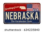 greetings from nebraska vintage ... | Shutterstock .eps vector #634235840