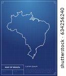 map of brazil drawn as... | Shutterstock .eps vector #634256240