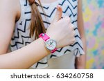 girl shows class with her kid's ... | Shutterstock . vector #634260758