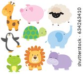 vector illustration of cute... | Shutterstock .eps vector #634263410