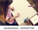 kid drawing placard felt pen... | Shutterstock . vector #634264730