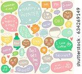 set of hand drawn speech and... | Shutterstock .eps vector #634269149