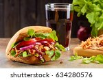 sandwich with pulled pork and... | Shutterstock . vector #634280576