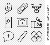 aid icons set. set of 9 aid... | Shutterstock .eps vector #634281344