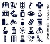 pharmaceutical icons set. set... | Shutterstock .eps vector #634283780