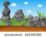 gray stones in garden... | Shutterstock .eps vector #634285280