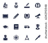 set of 16 science icons set... | Shutterstock .eps vector #634293548