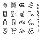 pill icons set. set of 16 pill... | Shutterstock .eps vector #634297238