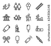 stick icons set. set of 16... | Shutterstock .eps vector #634306148