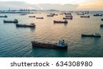 aerial top view oil tanker... | Shutterstock . vector #634308980
