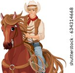 illustration of horse riding... | Shutterstock .eps vector #634314668