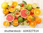 fresh fruit fruit background | Shutterstock . vector #634327514