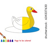 yellow duck  the coloring book... | Shutterstock .eps vector #634337630