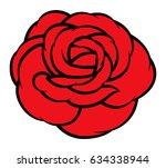 red rose isolated on white... | Shutterstock .eps vector #634338944