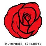 red rose isolated on white... | Shutterstock .eps vector #634338968
