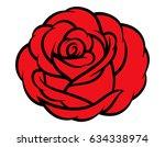 red rose isolated on white... | Shutterstock .eps vector #634338974