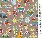 seamless pattern on the theme... | Shutterstock .eps vector #634339028