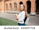 female college student. happy... | Shutterstock . vector #634357718