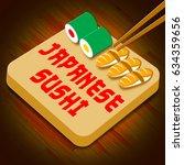 japanese sushi assortment... | Shutterstock . vector #634359656