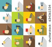 hand tool icons set building.... | Shutterstock . vector #634361534