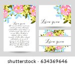invitation with floral... | Shutterstock .eps vector #634369646