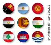 set of world flags round badges ... | Shutterstock .eps vector #634380218