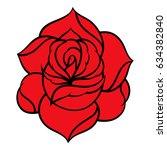 red rose isolated on white... | Shutterstock .eps vector #634382840