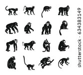 monkey types icons set. simple... | Shutterstock . vector #634383149