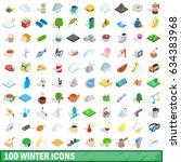 100 winter icons set in... | Shutterstock . vector #634383968