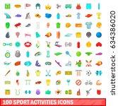 100 sport activities icons set...   Shutterstock . vector #634386020