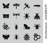 insect icons set. set of 16... | Shutterstock .eps vector #634388159
