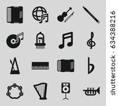 musical icons set. set of 16... | Shutterstock .eps vector #634388216