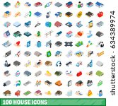 100 house icons set in... | Shutterstock . vector #634389974