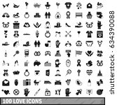 100 love icons set in simple...   Shutterstock . vector #634390088