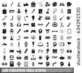 100 creative idea icons set in... | Shutterstock . vector #634392530