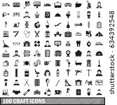100 craft icons set in simple... | Shutterstock . vector #634392548