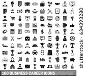 100 business career icons set... | Shutterstock . vector #634393280