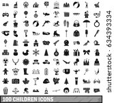 100 children icons set in... | Shutterstock . vector #634393334