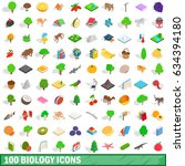 100 biology icons set in... | Shutterstock . vector #634394180