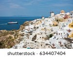 cityscape of oia village and... | Shutterstock . vector #634407404