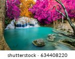 amazing waterfall in colorful... | Shutterstock . vector #634408220