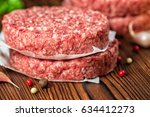 raw ground beef meat hamburger... | Shutterstock . vector #634412273