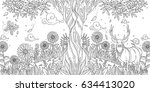 adult coloring deer  | Shutterstock .eps vector #634413020