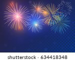 brightly colorful fireworks on... | Shutterstock .eps vector #634418348