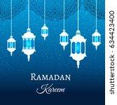 ramadan kareem greeting blue... | Shutterstock .eps vector #634423400