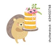 layered vanilla sweet sponge... | Shutterstock .eps vector #634433768