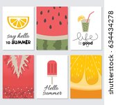 hello summer. set of cards | Shutterstock .eps vector #634434278